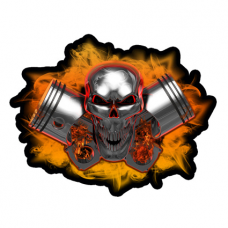Наклейка Machine Head Pistons Skull