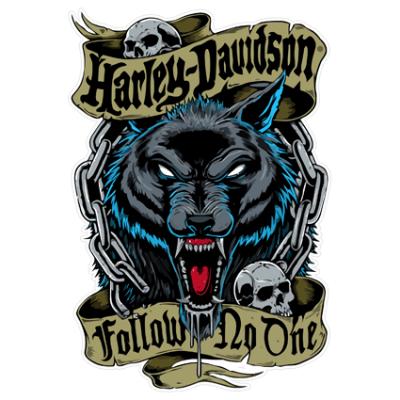 Наклейка Wolf Harley Davidson