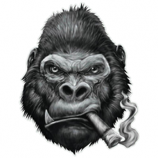 Наклейка Gorilla With Cigar (Горилла с сигарой)