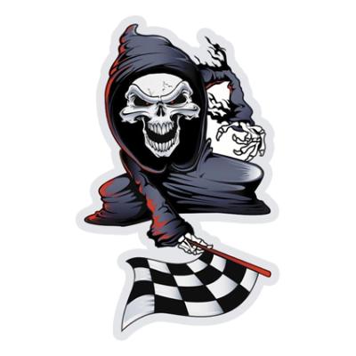 Наклейка Finish Skull Motorcycle