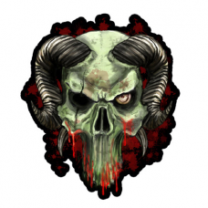 Наклейка Skull With Horns Art