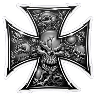 Наклейка Maltese Cross Skull (Мальтийский Крест)