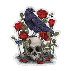 Наклейка Raven On The Skull (Ворон и череп)
